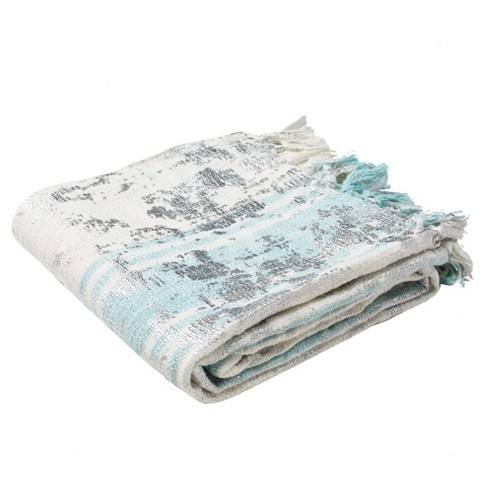 Nicola Metallic Throw Blanket Blue/Silver - Safavieh