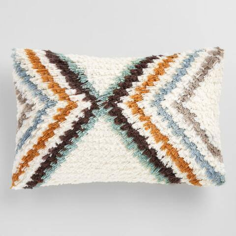 Oversized Geometric Shag Lumbar Pillow