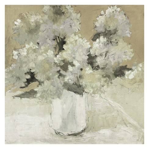 "35""x35"" White Hydrangea Bouquet On White By Dale Payson Art On Canvas - Fine Art Canvas"