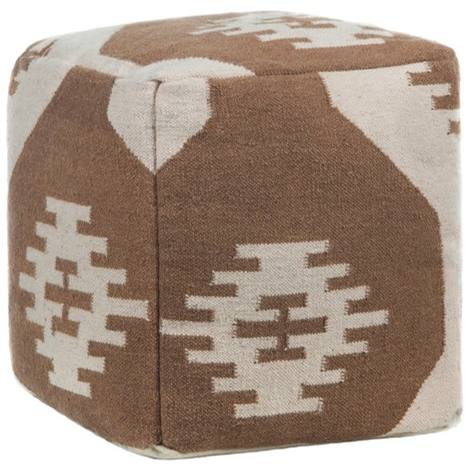 Textured Contemporary Wool Pouf - Brown/Cream 2