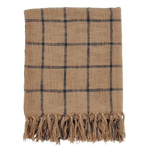 "50""x60"" Checkered Throw Blanket Brown - Saro Lifestyle"