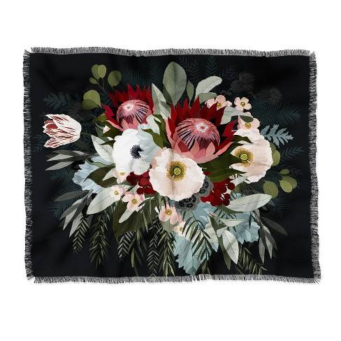 "60""X50"" Iveta Abolina Adeline Moon Throw Blanket Black - Deny Designs"
