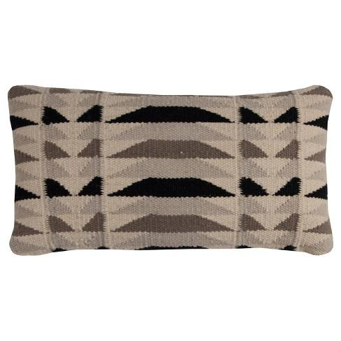 Rizzy Home Geometric Throw Pillow Beige