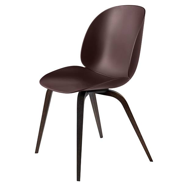 Gubi Beetle chair, smoked oak / dark pink