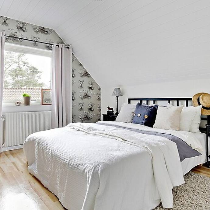 Casual simple cottage bedroom