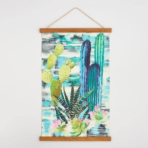 Cactus Canvas Tapestry with Wood Frame Wall Art