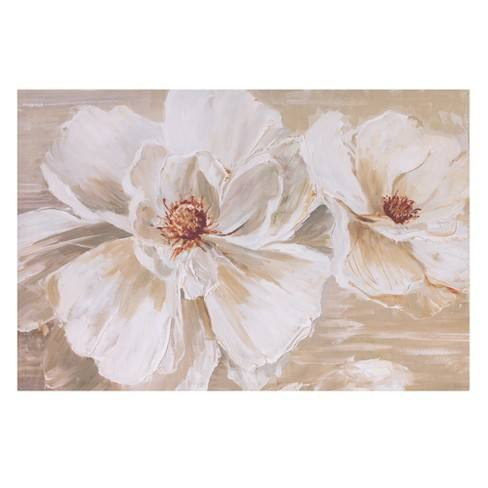 "24""x36"" Blooming Beauties Floral Canvas Art White - Patton Wall Decor"