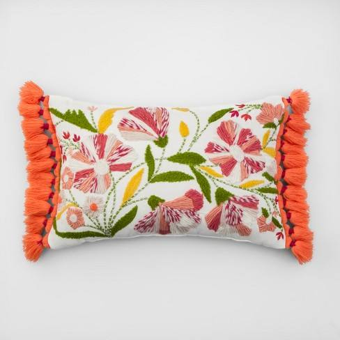 Embroidered Floral Lumbar Throw Pillow - Opalhouse�