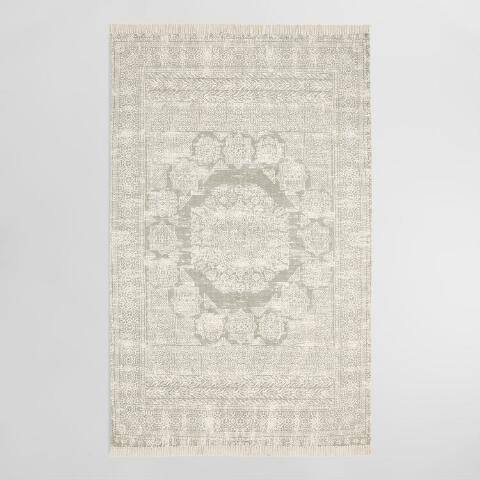 Gray Print Cotton Dhurrie Ariana Area Rug
