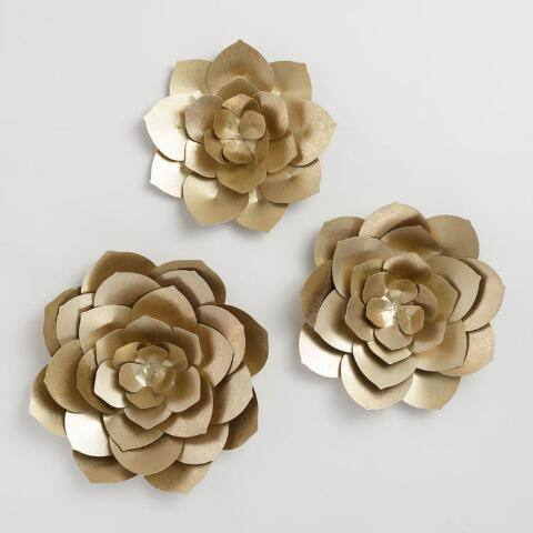 Gold Metal Flowers Wall Art Set of 3