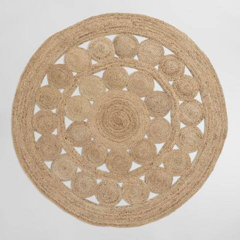 Round Medallion Natural Braided Jute Area Rug