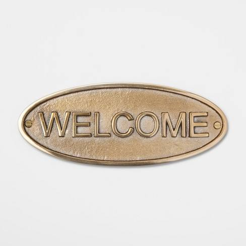 Entryway Welcome Metal Sign - Brass - Smith & Hawken�