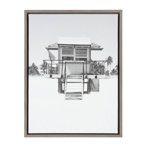 "Kate & Laurel 24""x18"" Sylvie Lifeguard Tower And Photo Print Framed Wall Canvas Gray"