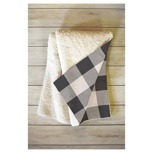 "Black Plaid Zoe Wodarz City Plaid Sherpa Throw Blanket (50""X60"") - Deny Designs�"