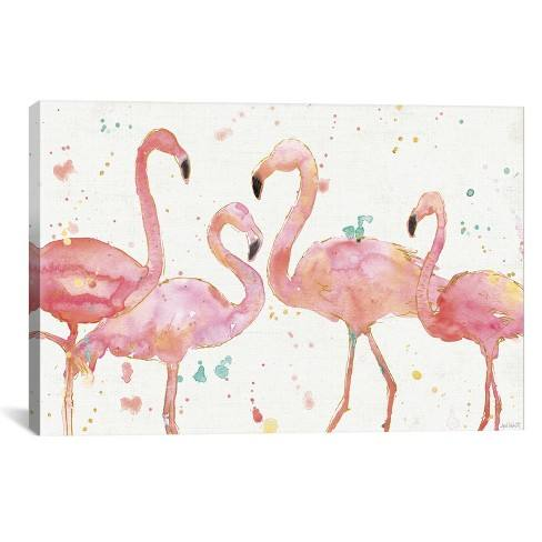 "26""x40"" Flamingo Fever I by Anne Tavoletti Unframed Wall Canvas Print White - iCanvas"