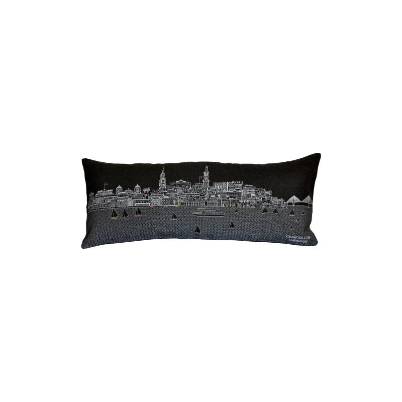 Charleston Embroidered Skyline Accent Pillow