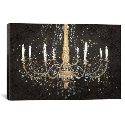 "26""x40"" Grand Chandelier Black I by James Wiens Unframed Wall Canvas Print Black - iCanvas"