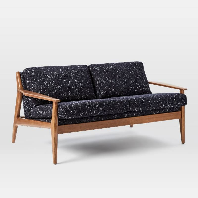 "Mathias Mid-Century Wood Frame Loveseat (66"")"