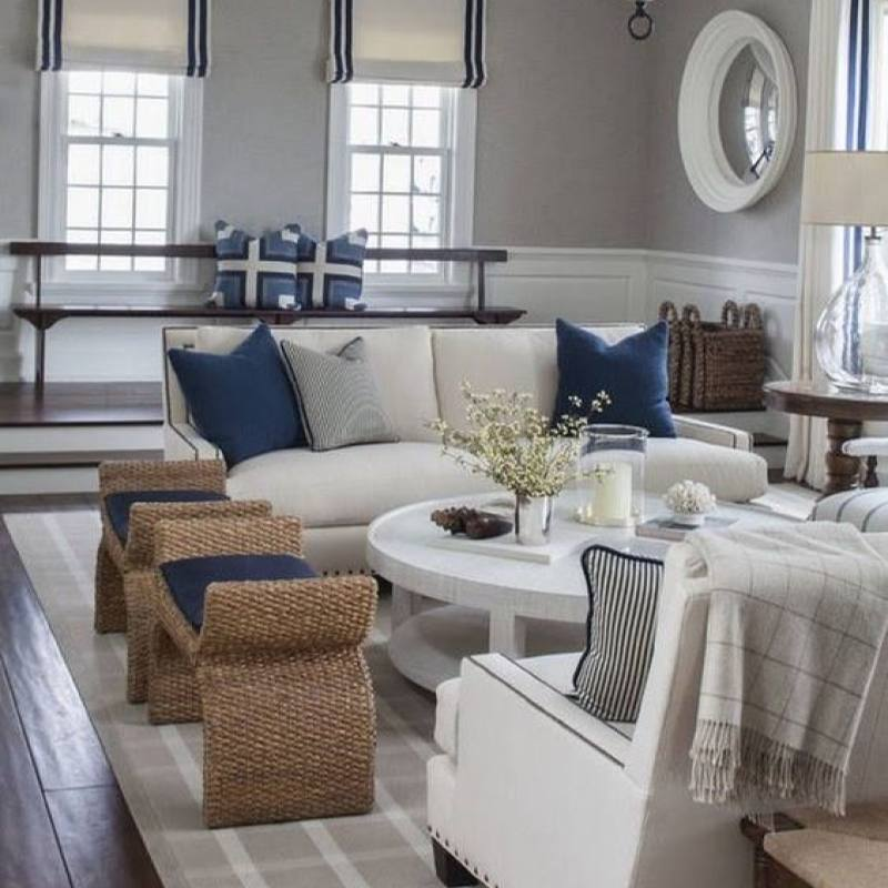 Country decor living room with navy accents