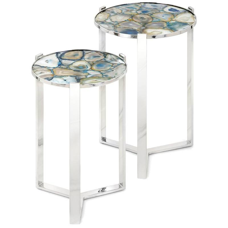 Nakasa Agate Blue Stone 2 Piece Nesting Tables