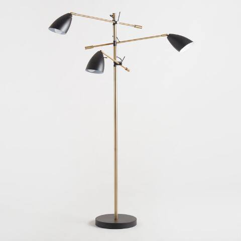 Matte Black and Brass 3 Shade Articulating Floor Lamp