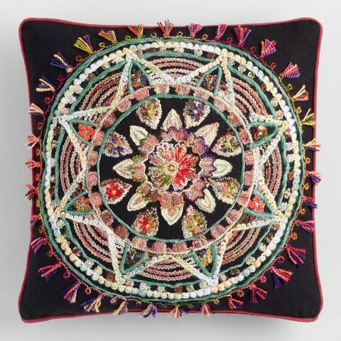 Multicolor Dream Catcher Embroidered Throw Pillow