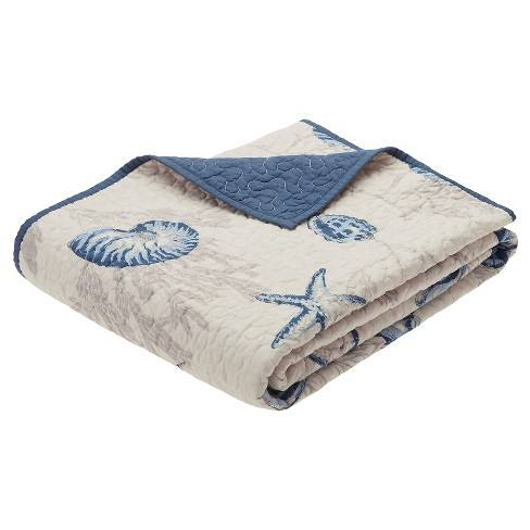 "Blue Nantucket Oversized Quilted Throw (60""X70"")"