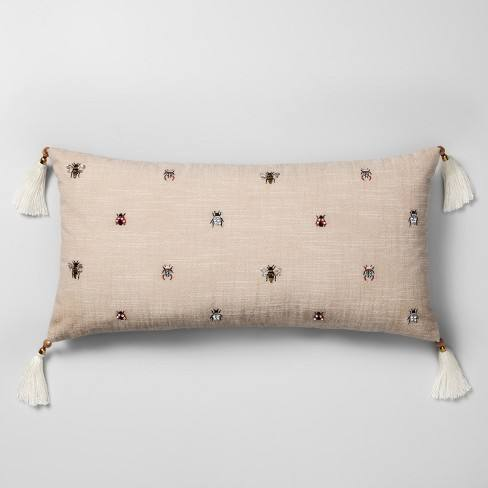 Beaded Bug Oversize Lumbar Throw Pillow Neutral - Opalhouse�
