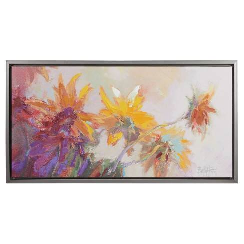 Golden Sunflowers Framed Hand Embellished Canvas 19.29 X 34.45 X 2.4 - Trends International