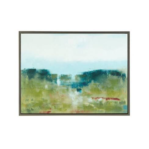 "40.5""X30.5"" Morning Fields Green Hand Embellished Framed Canvas Blue"
