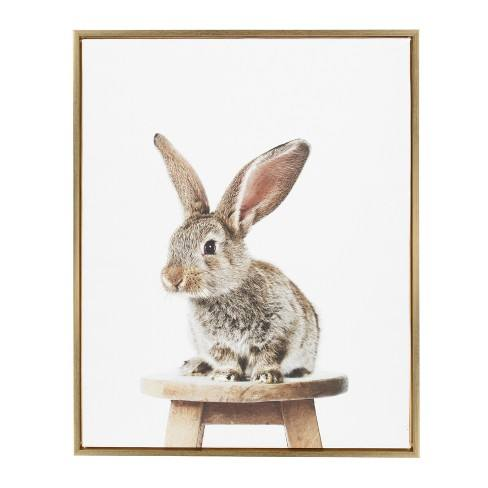"Kate & Laurel 36""x28"" Sylvie Flopsy Animal Print Portrait By Amy Peterson Framed Wall Canvas Gold"