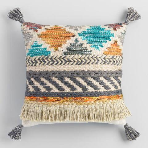 Multicolor Desert Fringe Throw Pillow