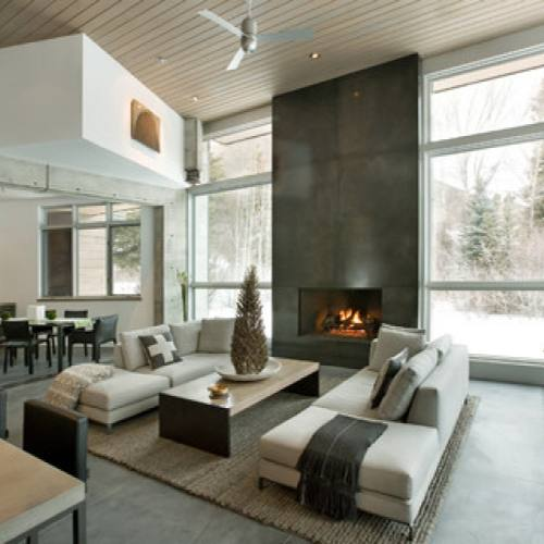 Modern Open Concept Living Room with fireplace