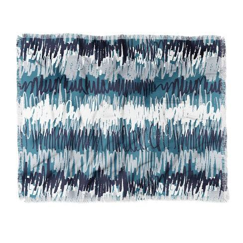 Mareike Boehmer Playground Crayons Woven Throw Blanket Blue - Deny Designs