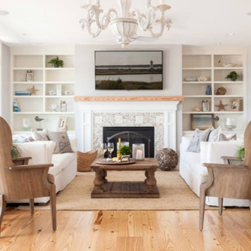 Neutral modern farmhouse living room with fireplace