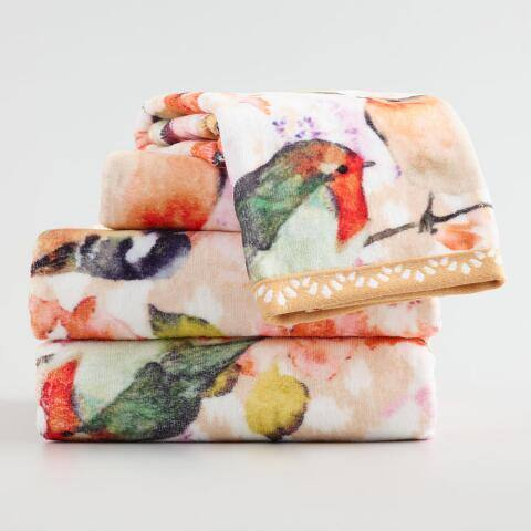 Coral Flower and Bird Camila Printed Bath Towel