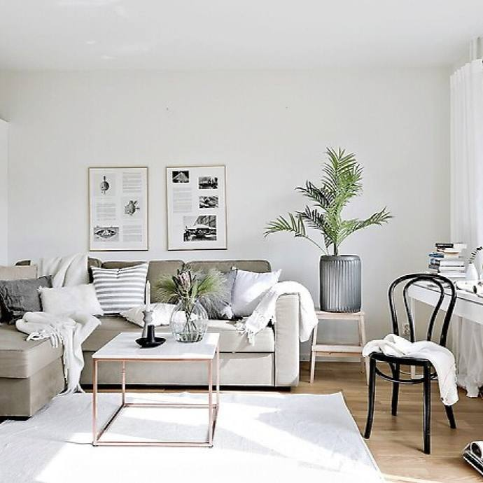 Modern neutral Scandinavian Interior Living Room