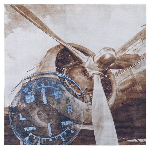 History Of Aviation II Printed Silver Metallic Canvas