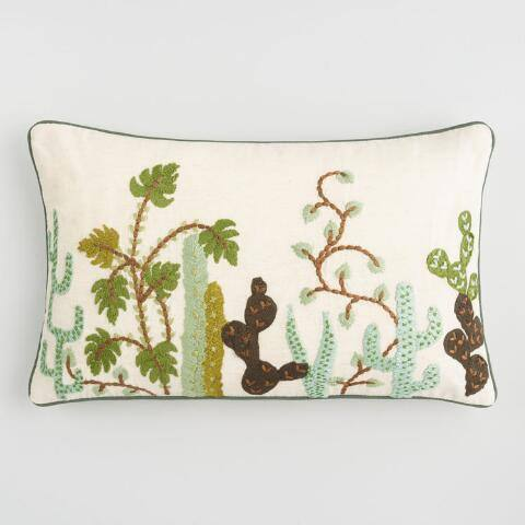 Cactus Embroidered Cotton Lumbar Pillow
