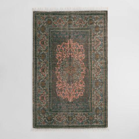 Blush Persian Medallion Print Woven Jute Puri Area Rug