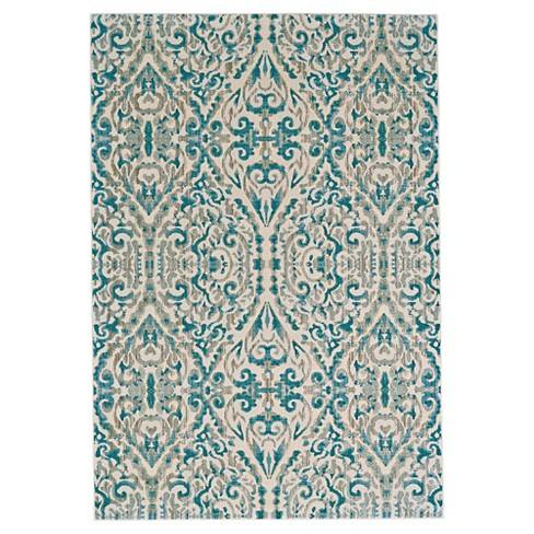 Turquoise Geometric Loomed Accent Rug