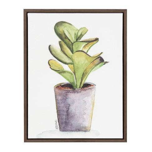 "Kate & Laurel 24""x18"" Sylvie Succulent In Pot By Jennifer Redstreake Geary Framed Wall Canvas Brown"