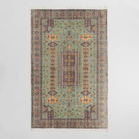 Green and Purple Persian Style Print Cotton Laila Area Rug