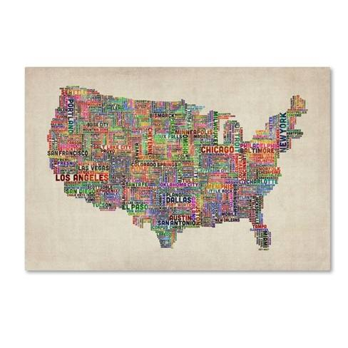 Trademark Global Michael Tompsett 'US Cities Text Map VI' Canvas Art