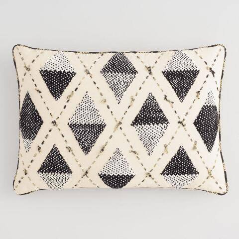 Black and Ivory Embroidered Diamond Lumbar Pillow