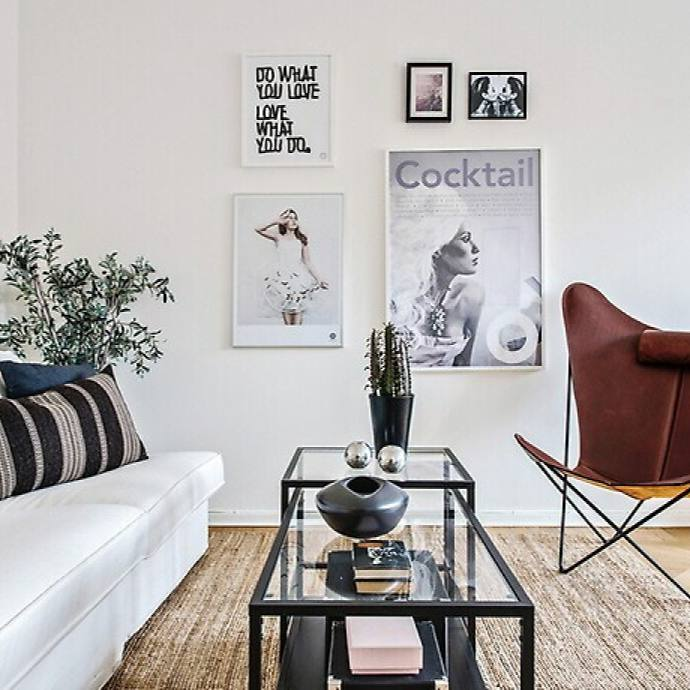 Minimalist neutral modern nordic living room