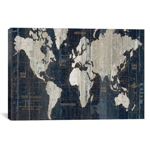 Old World Map Blue by Wild Apple Portfolio Canvas Print 26 x 40 - iCanvas