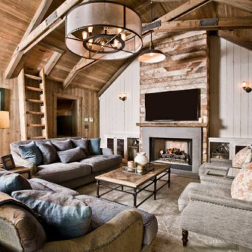 Rustic industrial farmhouse living room with fireplace