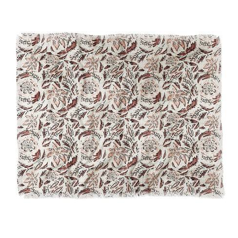 Holli Zollinger Indie Floral Woven Throw Blanket Beige - Deny Designs