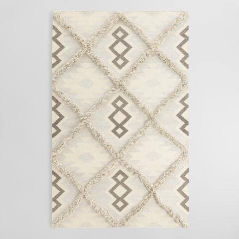 Ivory and Gray Diamond Wool Shag Kilim Akanni Area Rug